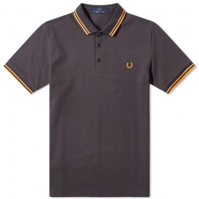 Fred Perry Made in Japan Polo Anthracite & Bright Orange