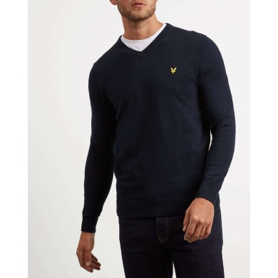 Lyle & Scott Cotton Merino V Neck Dark Navy